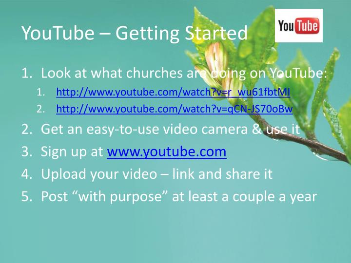 YouTube – Getting Started