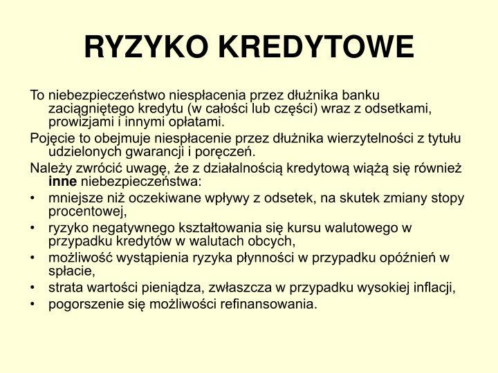 RYZYKO KREDYTOWE