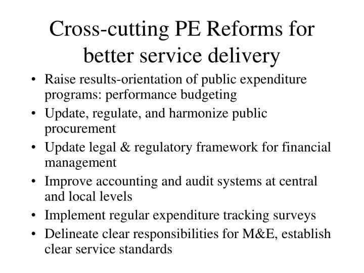 Cross-cutting PE Reforms for better service delivery