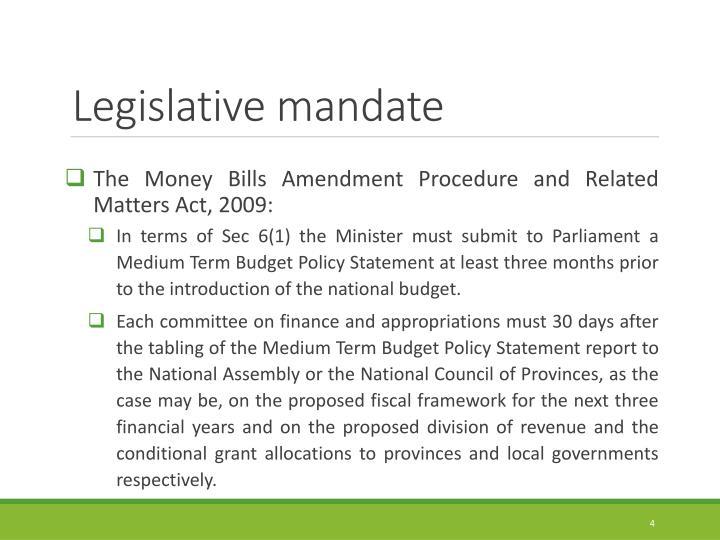 Legislative mandate