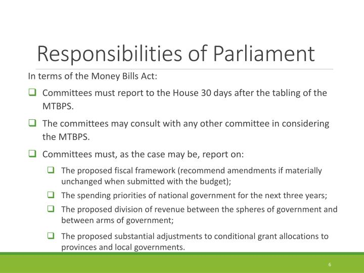 Responsibilities of Parliament