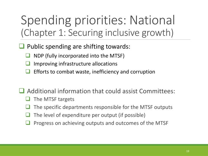 Spending priorities: National