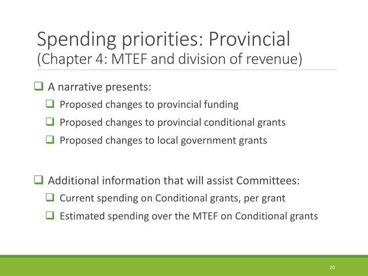 Spending priorities: Provincial