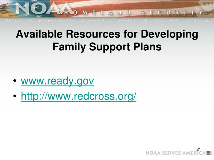 Available Resources for Developing Family Support Plans