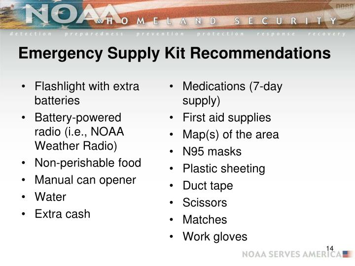 Emergency Supply Kit Recommendations