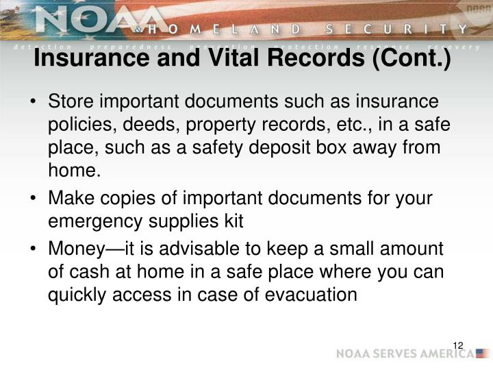 Insurance and Vital Records (Cont.)