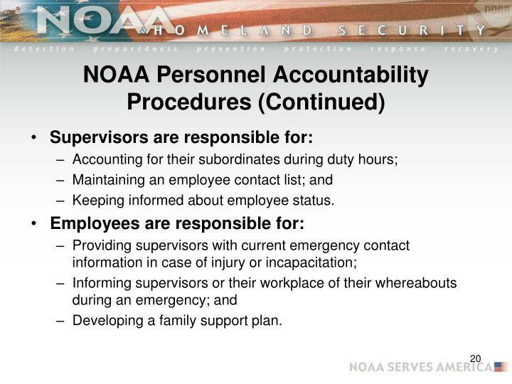 NOAA Personnel Accountability Procedures (Continued)