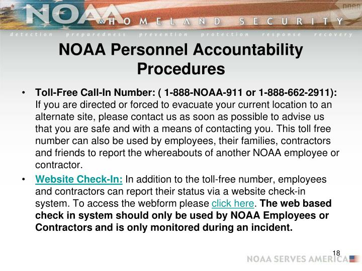 NOAA Personnel Accountability Procedures