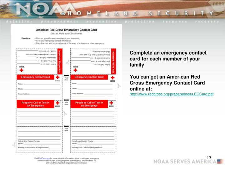 Complete an emergency contact card for each member of your family