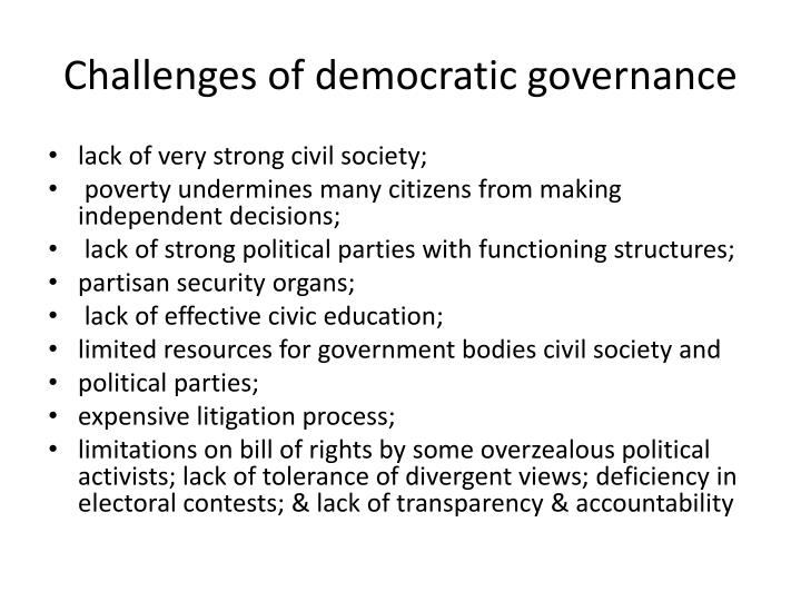 Challenges of democratic governance