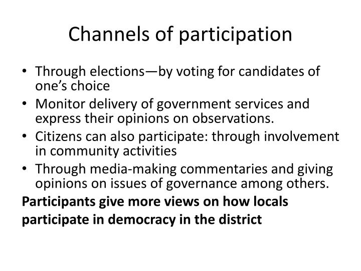 Channels of participation