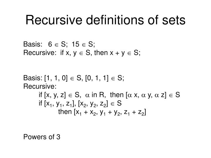 Recursive definitions of sets