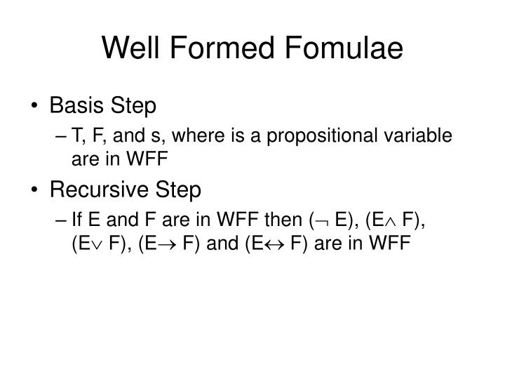 Well Formed Fomulae