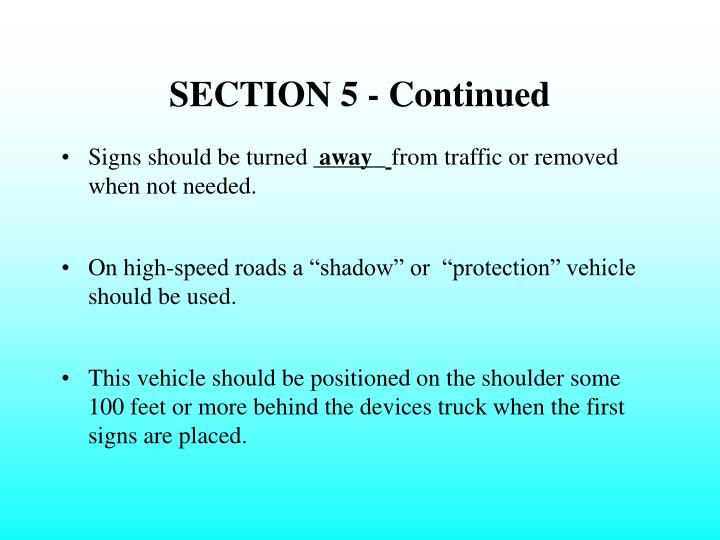 SECTION 5 - Continued