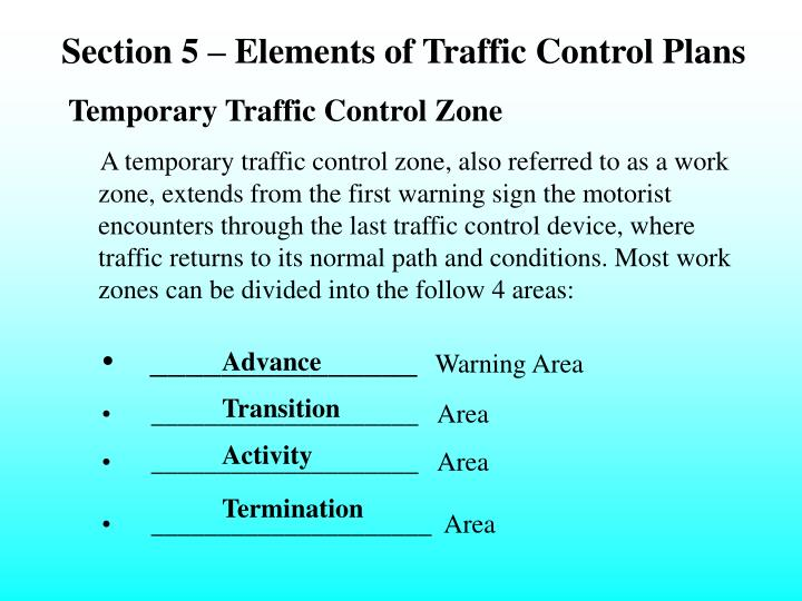 Section 5 – Elements of Traffic Control Plans
