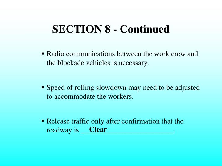 SECTION 8 - Continued