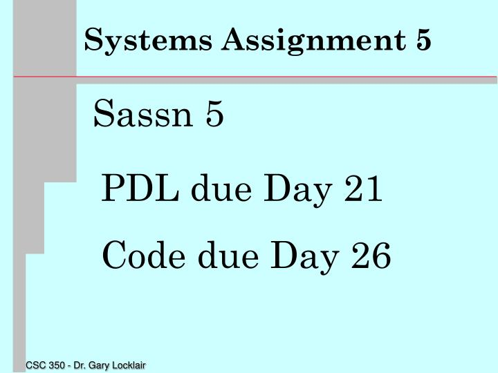 Systems Assignment 5