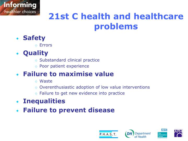 21st C health and healthcare problems