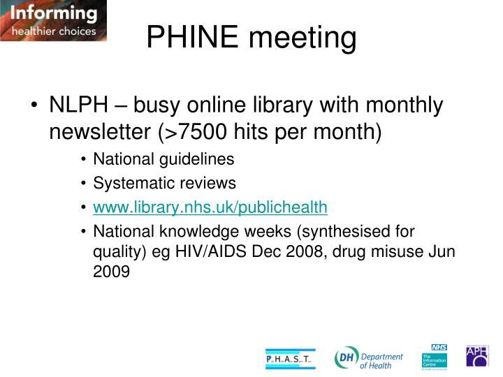 PHINE meeting