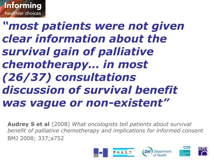 """""""most patients were not given clear information about the survival gain of palliative chemotherapy… in most (26/37) consultations discussion of survival benefit was vague or non-existent"""""""
