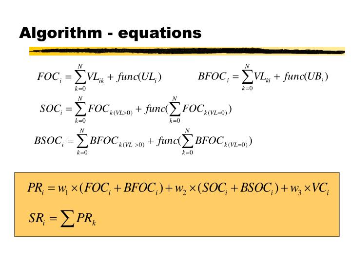 Algorithm - equations