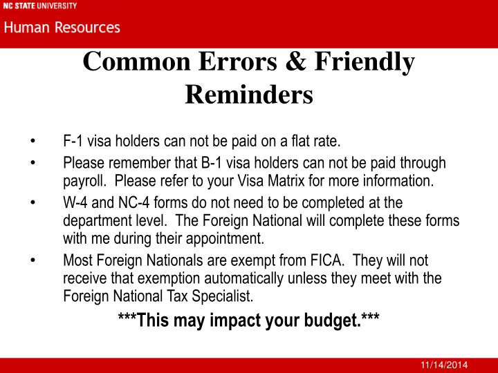Common Errors & Friendly Reminders