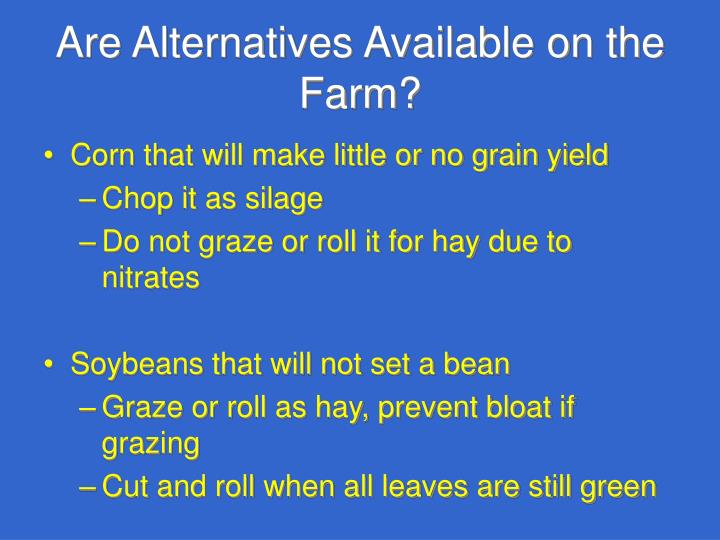 Are Alternatives Available on the Farm?