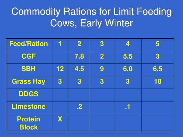 Commodity Rations for Limit Feeding Cows, Early Winter