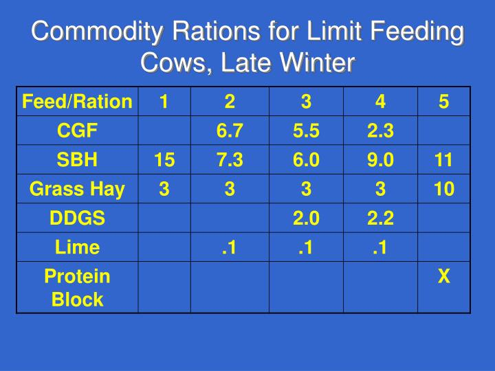 Commodity Rations for Limit Feeding Cows, Late Winter