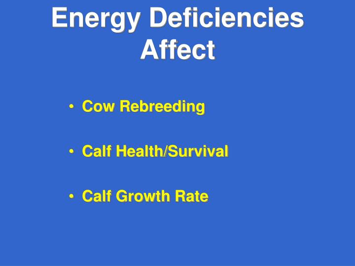 Energy Deficiencies Affect