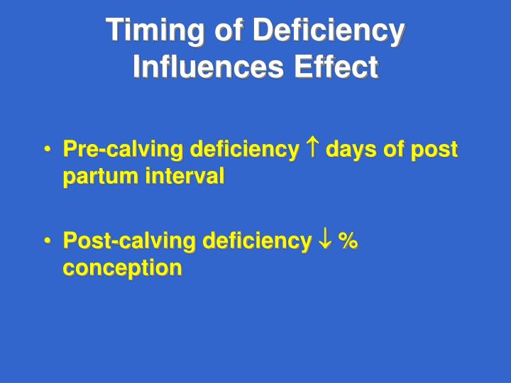 Timing of Deficiency Influences Effect