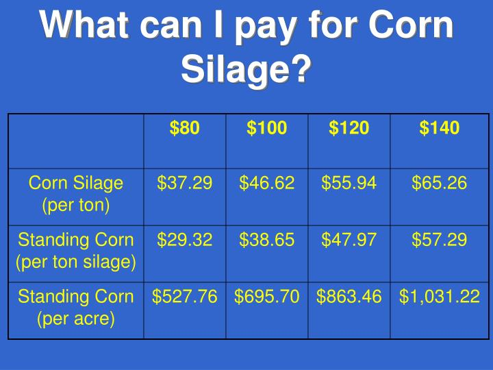 What can I pay for Corn Silage?