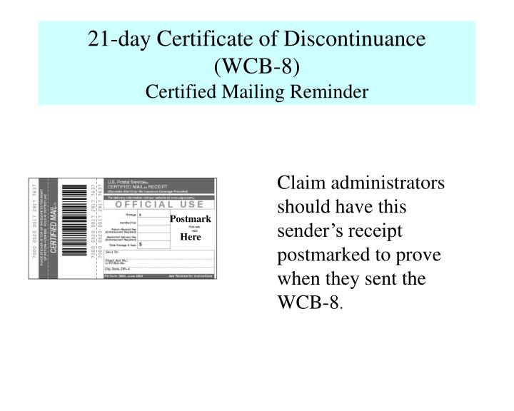 21-day Certificate of Discontinuance