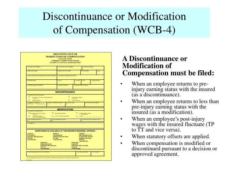 Discontinuance or Modification