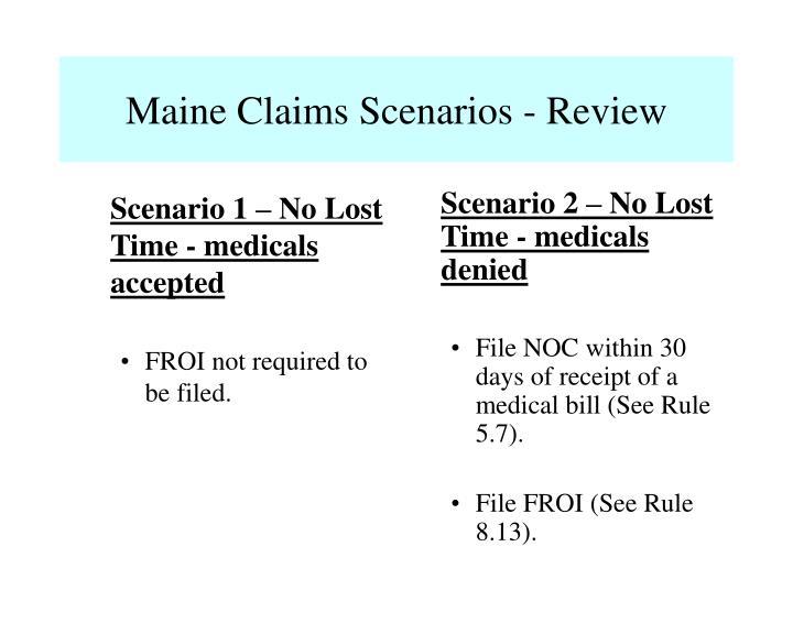 Scenario 2 – No Lost Time - medicals denied