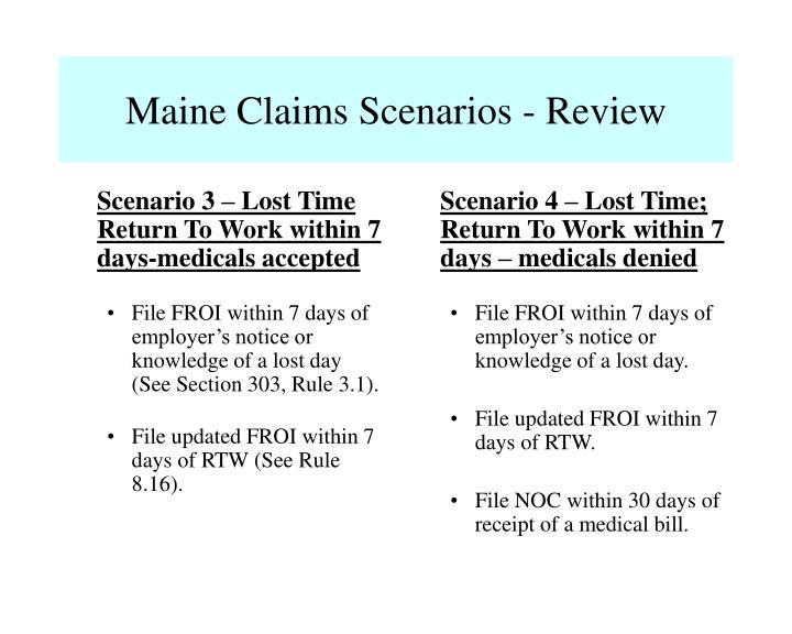 Scenario 4 – Lost Time; Return To Work within 7 days – medicals denied
