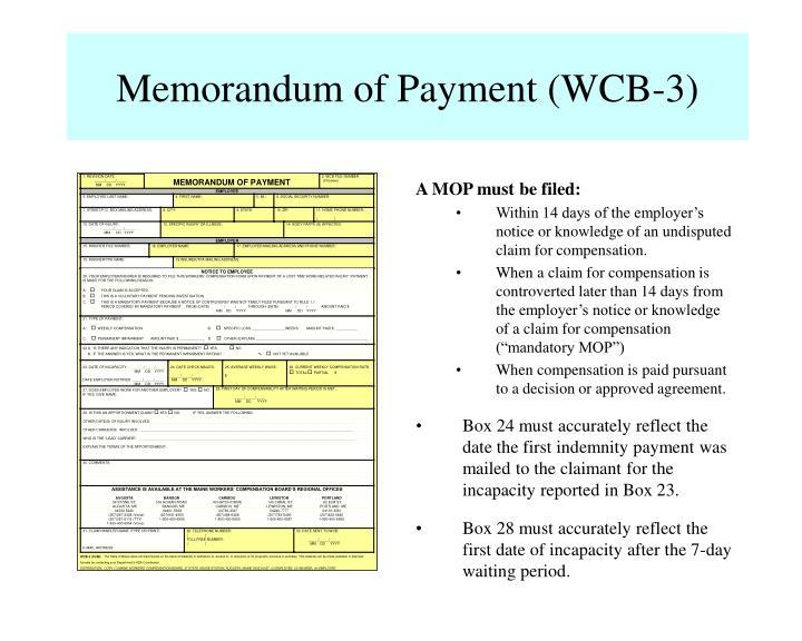Memorandum of Payment (WCB-3)