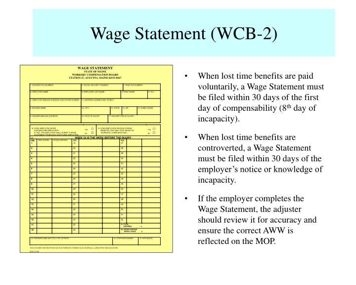 Wage Statement (WCB-2)
