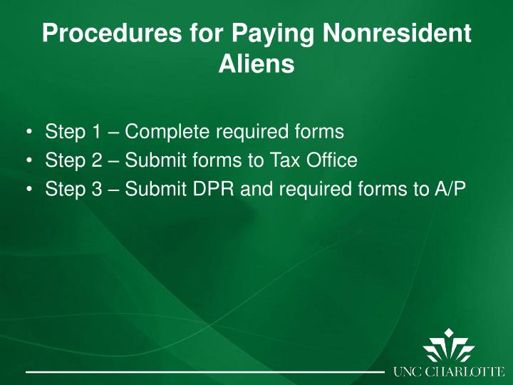 Procedures for Paying Nonresident Aliens