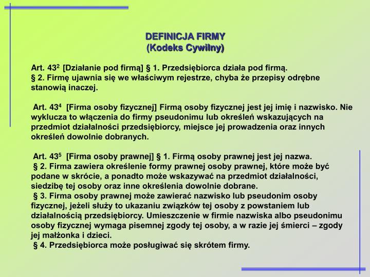 DEFINICJA FIRMY