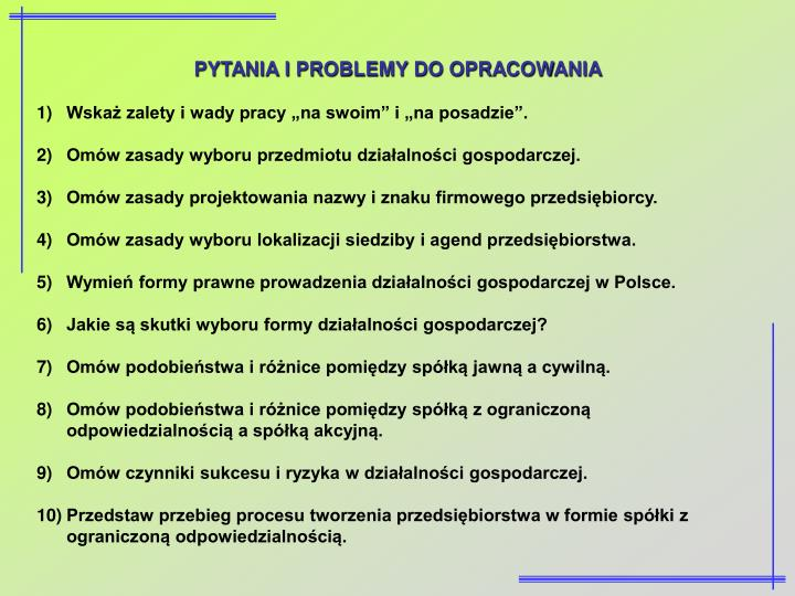 PYTANIA I PROBLEMY DO OPRACOWANIA