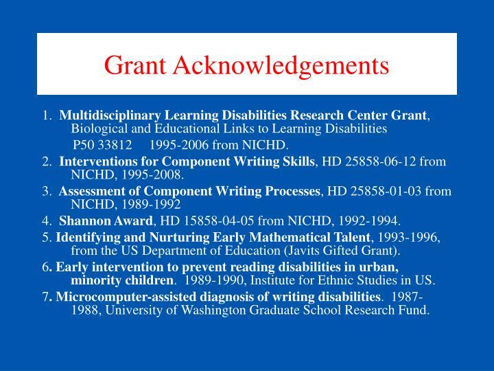 Grant Acknowledgements