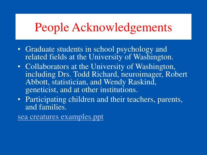 People Acknowledgements