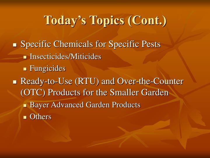 Today's Topics (Cont.)