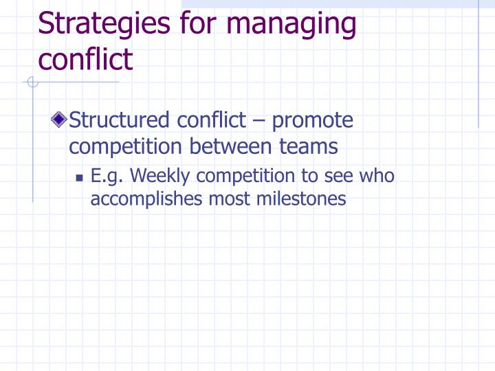 Strategies for managing conflict