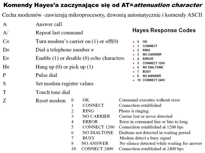 Cecha modemów -zawierają mikroprocesory, dzwonią automatycznie i komendy ASCII