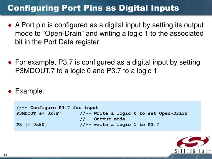 Configuring Port Pins as Digital Inputs