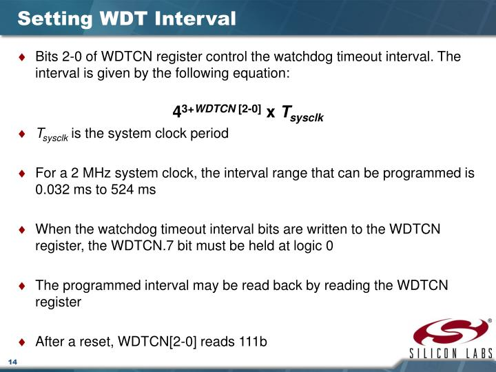 Setting WDT Interval