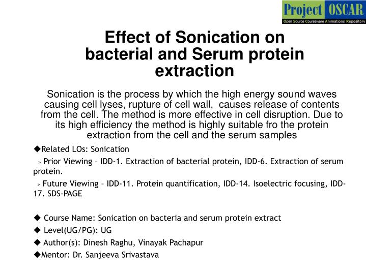 Effect of Sonication on bacterial and Serum protein extraction