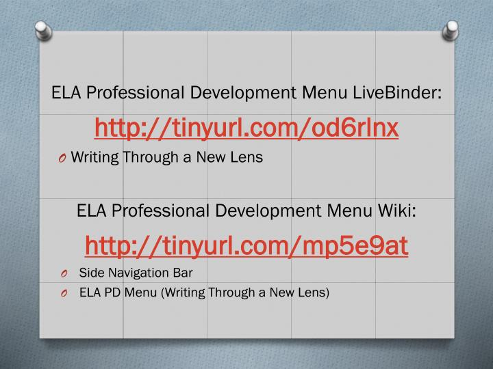 ELA Professional Development Menu